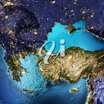 Greece and Turkey. Elements of this image furnished by NASA. 3D rendering