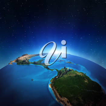 Central America from space. Elements of this image furnished by NASA 3d rendering