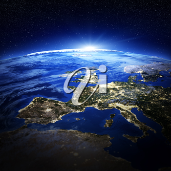 Europe city lights. Elements of this image furnished by NASA 3d rendering