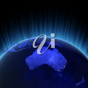 Australia and New Zealand volume 3d rendering. Maps from NASA imagery