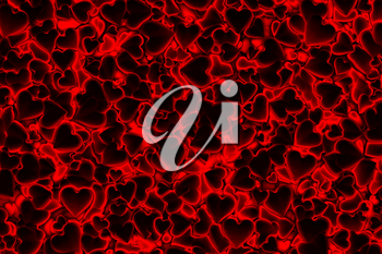 Valentine's Day abstract 3D background pattern with dark radiant, glowing and shining red hearts.