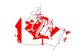 Canadian Map With National Flag On It On White Background 3D Rendering
