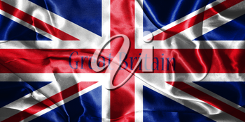 Great Britain Flag Blown in the Wind With Country Name Written On. Grunge Looking It 3D illustration