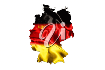 Map of Germany with national flag isolated on white background With Crest