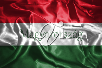 Hungarian National Flag With Hungary Written On It 3D illustration