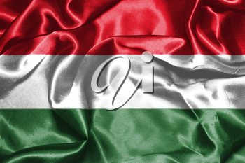 Hungarian National Flag Waving in the Wind Grunge Looking 3D illustration