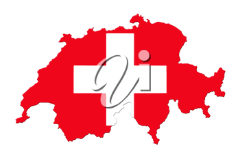 Map Of Switzerland And Flag On White Background
