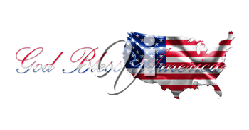 United States of America Map With American  Flag and Text 3D illustration