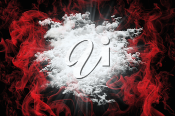 Abstract Love Background With Red Smoke and White Fluffy Clouds. Valentine's Day Concept 3D Illustration