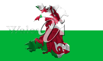 Map Of Wales With Flag Of Country On It Isolated On Background 3D Illustration