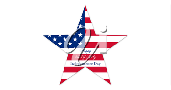 Happy 4th of July.  Independence Day, Star With United States of America Flag Isolated On White Background  illustration