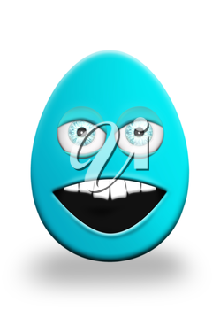 Easter Egg With Eyes and Mouth Feeling Angry 3D Illustration