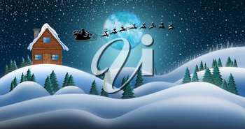 Santa Clause and Reindeers Sleighing Through Christmas Night Over the Snow Fields and Santas House at North Pole