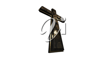Christian Cross Isolated on White Background 3D Rendering