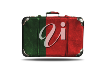 Travel Vintage Leather Suitcase With Flag Of Portugal Isolated On White Background
