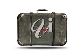 Travel Vintage Leather Suitcase With Flag Of Great Britain Isolated On White Background