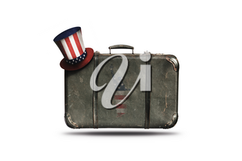 Travel Vintage Leather Suitcase With Uncle Sam's Hat and American Flag in Shape Of Statue of Liberty. Happy 4th of July Independence Day United States Of America