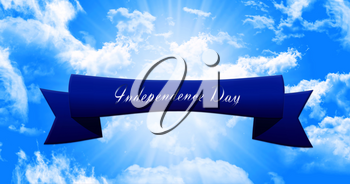 Happy 4th of July.  Independence Day, Ribbon Banner On Sky Background  illustration