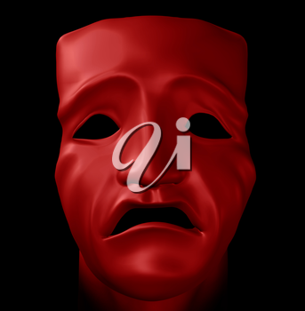 Figure with tragedy mask on black background. Digitally created 3d illustration.