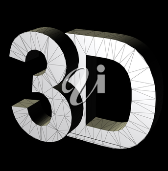 3d three dimensional letters wire frame computer generated symbol illustration.