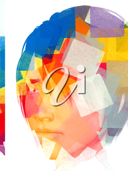 Female portrait and abstract geometric pattern. 3d illustration.