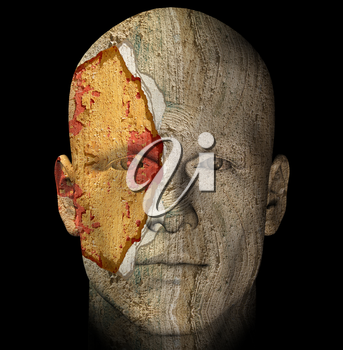 Broken and weathered statue head. 3-d computer generated illustration.
