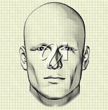 Sketch of male figure portrait drawing of man's head on graph paper background. Digitally created 3d illustration.