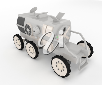 It is a space exploration vehicle with pressurized cabin size of a small pickup truck consists of wheeled chassis vector color drawing or illustration